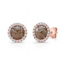 ROSE GOLD INSPIRED HALO ROUGH DIAMOND EARRINGS