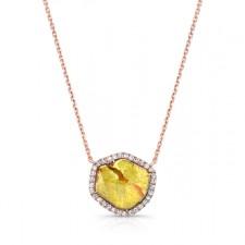 ROSE GOLD CONTEMPORARY ROUGH DIAMOND LARIAT PENDANT