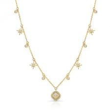 YELLOW GOLD CONTEMPORARY ROUGH DIAMOND LARIAT PENDANT