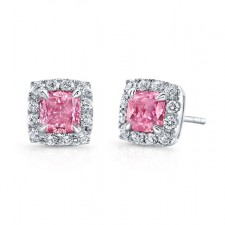 WHITE GOLD PINK ENHANCED CUSHION DIAMOND STUD EARRINGS