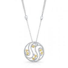 WHITE GOLD INSPIRED NATURAL YELLOW SWIRLED DIAMOND PENDANT