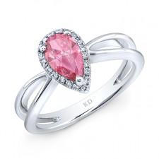 WHITE GOLD PINK ENHANCED PEAR DIAMOND ENGAGEMENT RING
