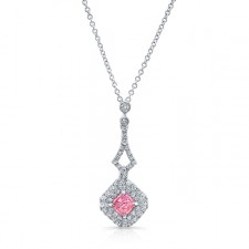 WHITE GOLD INSPIRED PINK ENHANCED RADIANT DIAMOND PENDANT