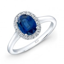 NATURAL COLOR WHITE GOLD ELEGANT SAPPHIRE HALO DIAMOND RING