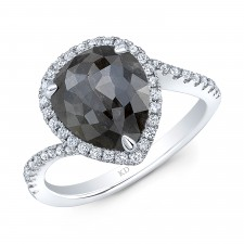 WHITE  GOLD ELEGANT HALO ROUGH DIAMOND RING