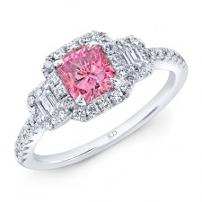 WHITE GOLD CLASSIC PINK ENHANCED RADIANT DIAMOND ENGAGEMENT RING