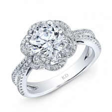 WHITE GOLD VINTAGE  HALO DIAMOND ENGAGEMENT RING