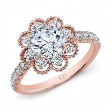 ROSE GOLD PRONG SET VINTAGE DIAMOND ENGAGEMENT RING