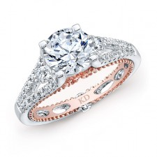 WHITE & ROSE GOLD INSPIRED VINTAGE DIAMOND ENGAGEMENT RING