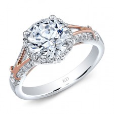 WHITE AND ROSE GOLD INSPIRED HALO DIAMOND ENGAGEMENT RING