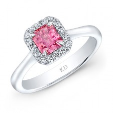 WHITE GOLD PINK ENHANCED SQUARE HALO DIAMOND BRIDAL RING
