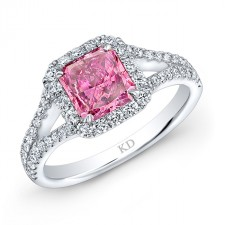 WHITE GOLD PINK ENHANCED SQUARE HALO RADIANT DIAMOND BRIDAL RING