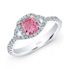 WHITE GOLD PINK ENHANCED CUSHION DIAMOND BRIDAL RING