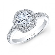 WHITE GOLD ROUND HALO SWIRLED DIAMOND ENGAGEMENT RING