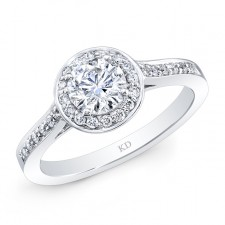 WHITE GOLD ROUND DIAMOND HALO ENGAGEMENT RING