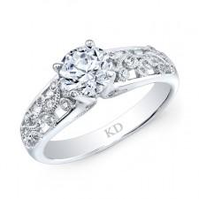WHITE GOLD INSPIRED VINTAGE DIAMOND BRIDAL RING