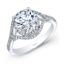WHITE GOLD FASHION ROUND HALO ENGAGEMENT RING