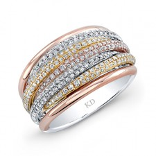 YELLOW & ROSE & WHITE GOLD FIVE ROW PAVE FASHION DIAMOND RING