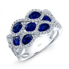 NATURAL COLOR WHITE GOLD TRENDY SAPPHIRE DIAMOND RING