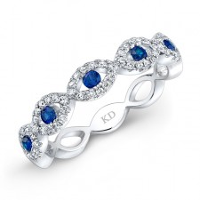 NATURAL COLOR WHITE GOLD  SAPPHIRE TWISTED DIAMOND BAND