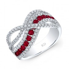 WHITE GOLD NATURAL COLOR CONTEMPORARY RUBY WAVE DIAMOND RING