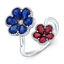 WHITE GOLD NATURAL COLOR RUBY &  SAPPHIRE FLOWER DIAMOND RING