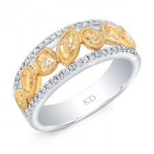 WHITE AND YELLOW GOLD NATURAL YELLOW FASHION DIAMOND RING