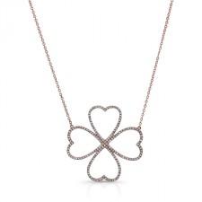ROSE GOLD TRENDY DIAMOND FLOWER PENDANT