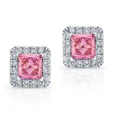 WHITE GOLD PINK ENHANCED PRINCESS DIAMOND HALO EARRINGS