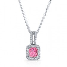 WHITE GOLD ELEGANT PINK ENHANCED RADIANT DIAMOND PENDANT
