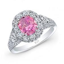 WHITE GOLD ELEGANT PINK ENHANCED CUSHION DIAMOND ENGAGEMENT RING