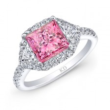 WHITE GOLD PINK ENHANCED PRINCESS DIAMOND ENGAGEMENT RING