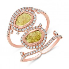 ROSE GOLD TWO - STONE CONTEMPORARY ROUGH DIAMOND RING