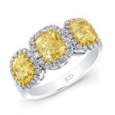 WHITE & YELLOW GOLD CONTEMPORARY CUSHION FANCY YELLOW DIAMOND RING