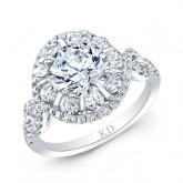 WHITE GOLD INSPIRED ROUND HALO DIAMOND ENGAGEMENT RING