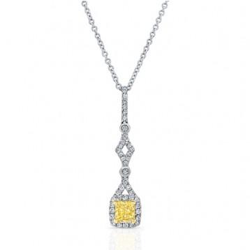 WHITE AND YELLOW GOLD ELEGANT CUSHION FANCY YELLOW DIAMOND PENDANT