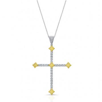 WHITE AND YELLOW GOLD CLASSIC FANCY YELLOW DIAMOND CROSS PENDANT