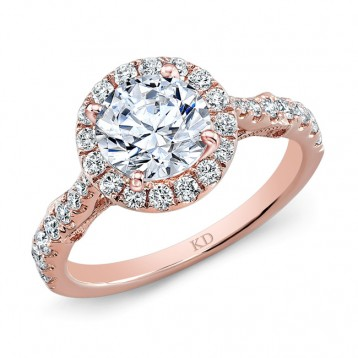 ROSE GOLD  ROUND HALO DIAMOND ENGAGEMENT SET