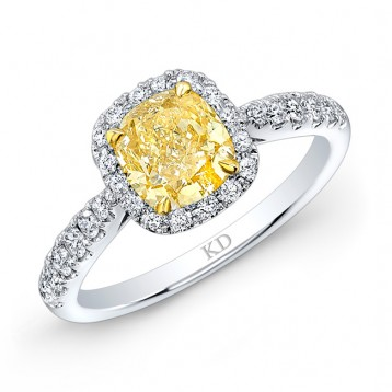 WHITE AND YELLOW GOLD CLASSIC FANCY YELLOW CUSHION DIAMOND ENGAGEMENT RING