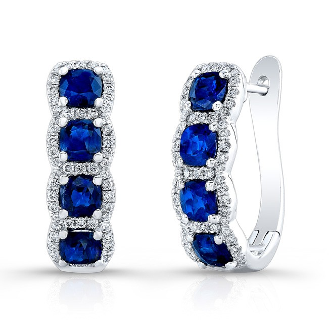 NATURAL COLOR WHITE GOLD SEMI HOOP SAPPHIRE DIAMOND EARRINGS
