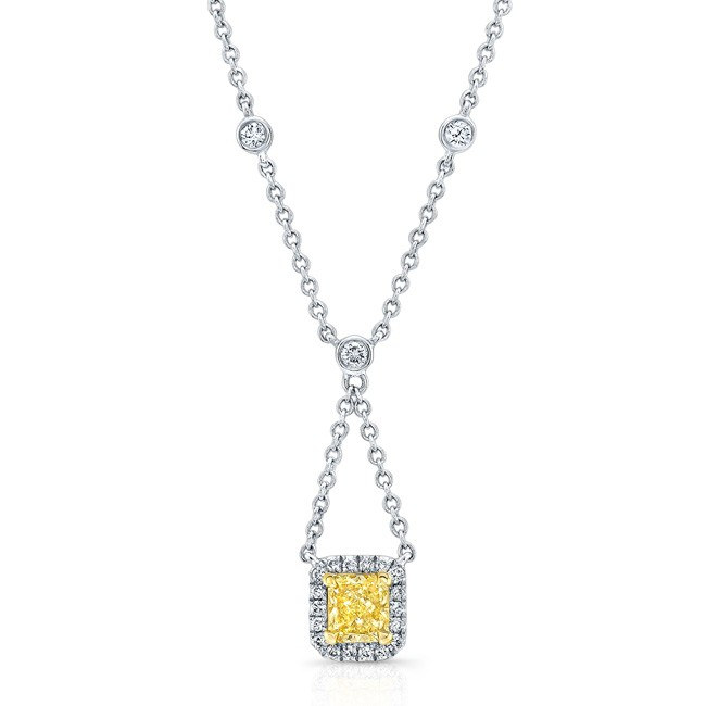 WHITE AND YELLOW GOLD ELEGANT RADIANT FANCY YELLOW DIAMOND PENDANT