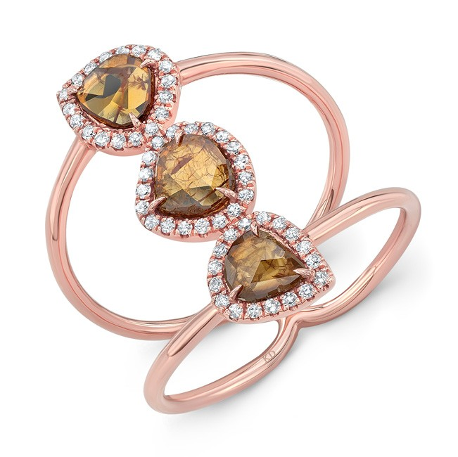ROSE GOLD THREE- STONE DAZZLING ROUGH DIAMOND RING