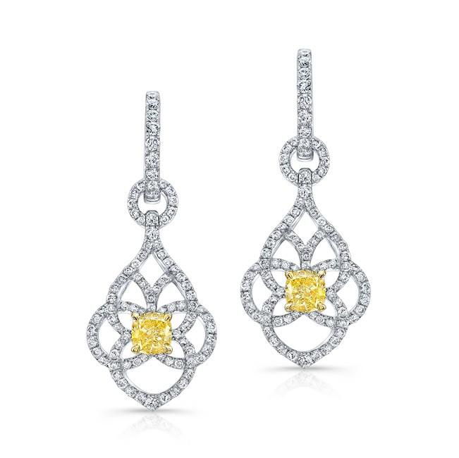 WHITE AND YELLOW GOLD FANCY YELLOW CUSHION DIAMOND DANGLE EARRINGS