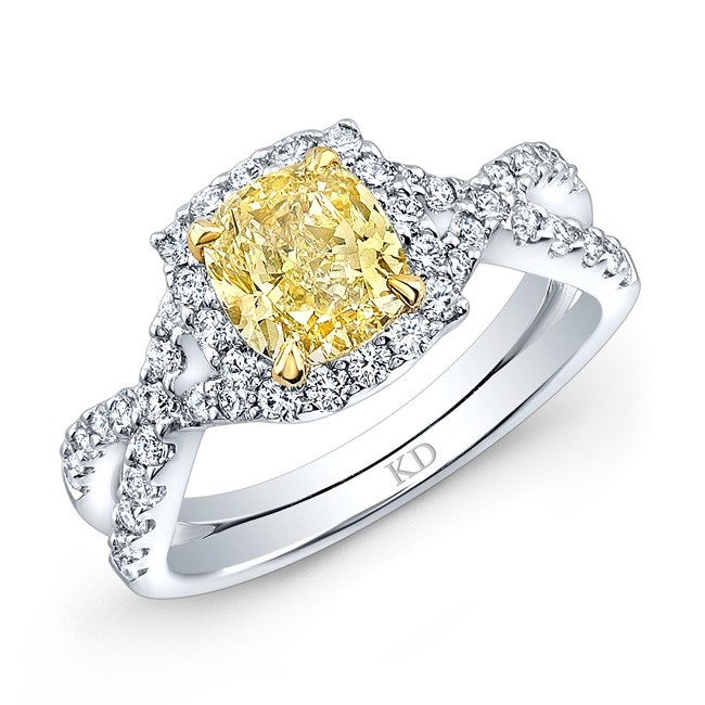 WHITE AND YELLOW GOLD TWISTED FANCY YELLOW RADIANT DIAMOND ENGAGEMENT RING
