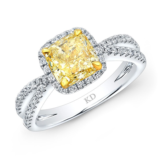 WHITE AND YELLOW GOLD FANCY YELLOW DIAMOND HALO ENGAGEMENT RING