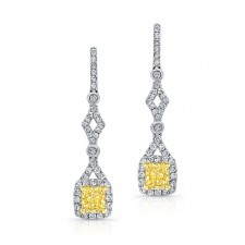WHITE AND YELLOW GOLD FANCY YELLOW CUSHION DIAMOND DROP EARRINGS