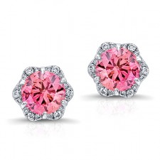 WHITE GOLD INSPIRED PINK ENHANCED ROUND DIAMOND HALO EARRINGS