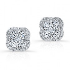 WHITE GOLD DIAMOND CLUSTER FLOWER EARRINGS