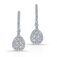 WHITE GOLD TEAR DROP CLUSTER DIAMOND EARRINGS