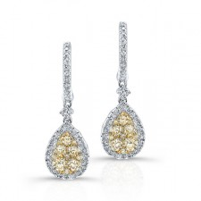 ROSE GOLD INSPIRED FANCY YELLOW TEAR DROP DIAMOND EARRINGS